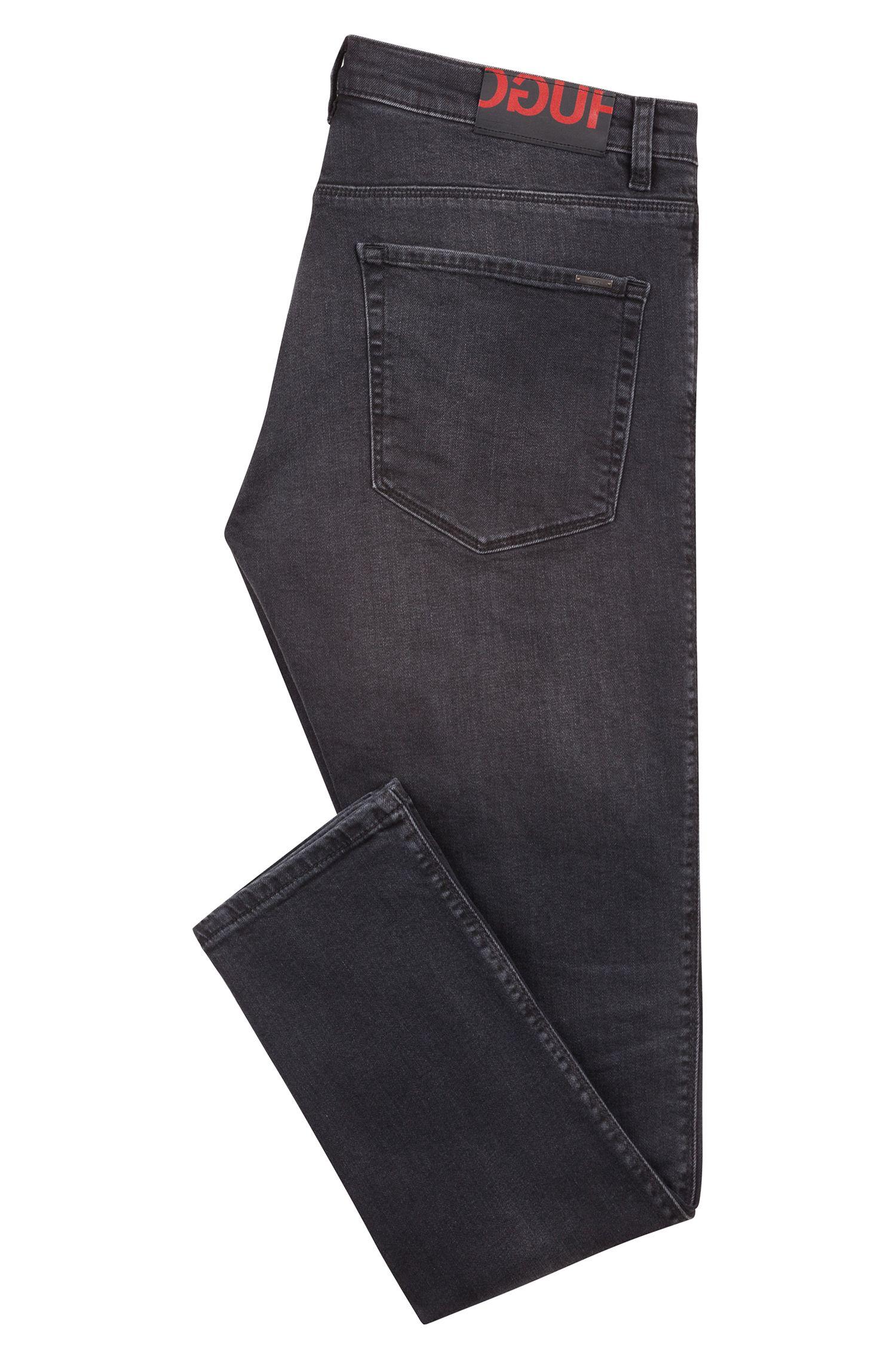 Skinny-Fit Jeans aus Stretch-Denim mit Logo-Patch, Dunkelgrau