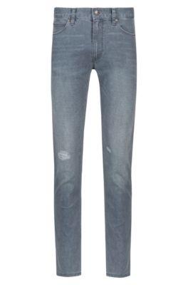 Skinny-fit grey jeans in distressed stretch denim, Grey