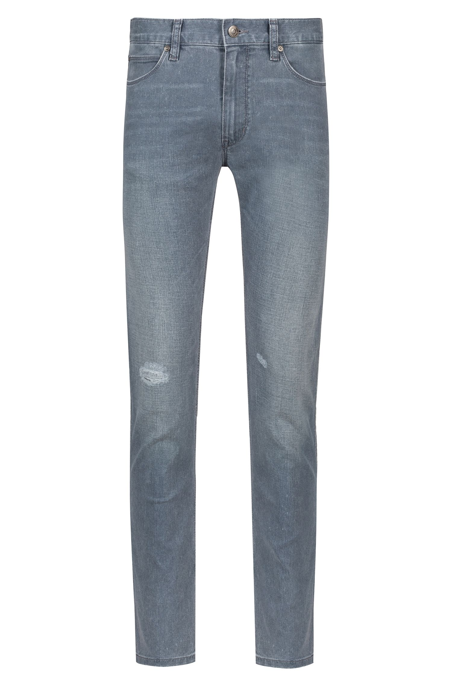 Skinny-Fit Jeans aus Stretch-Denim in Used-Optik, Grau