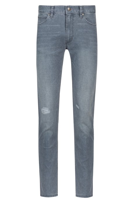 Jean Skinny Fit gris en denim stretch délavé, Gris