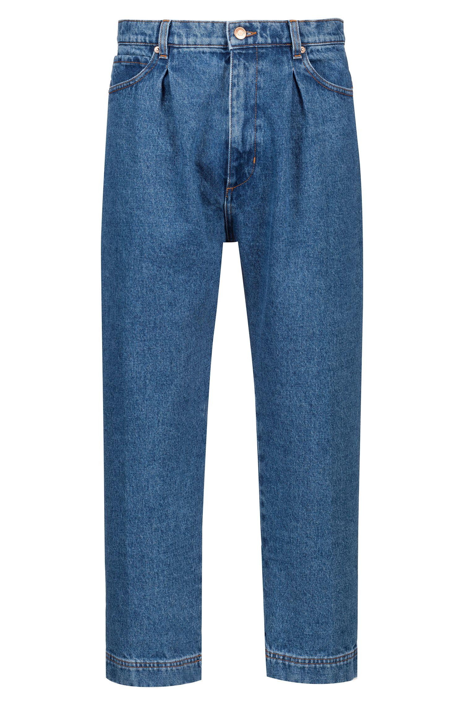 Relaxed-Fit Jeans in Cropped-Länge mit Bundfalten, Blau