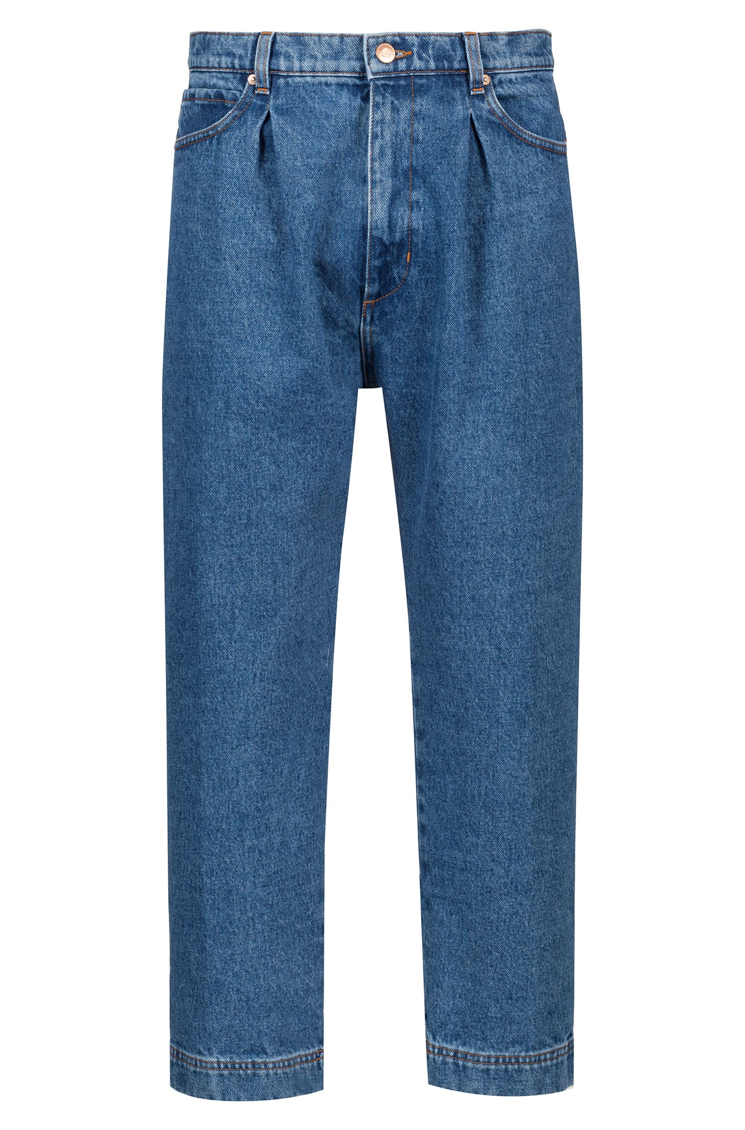 Hugo Boss - Relaxed-Fit Jeans in Cropped-Länge mit Bundfalten - 1