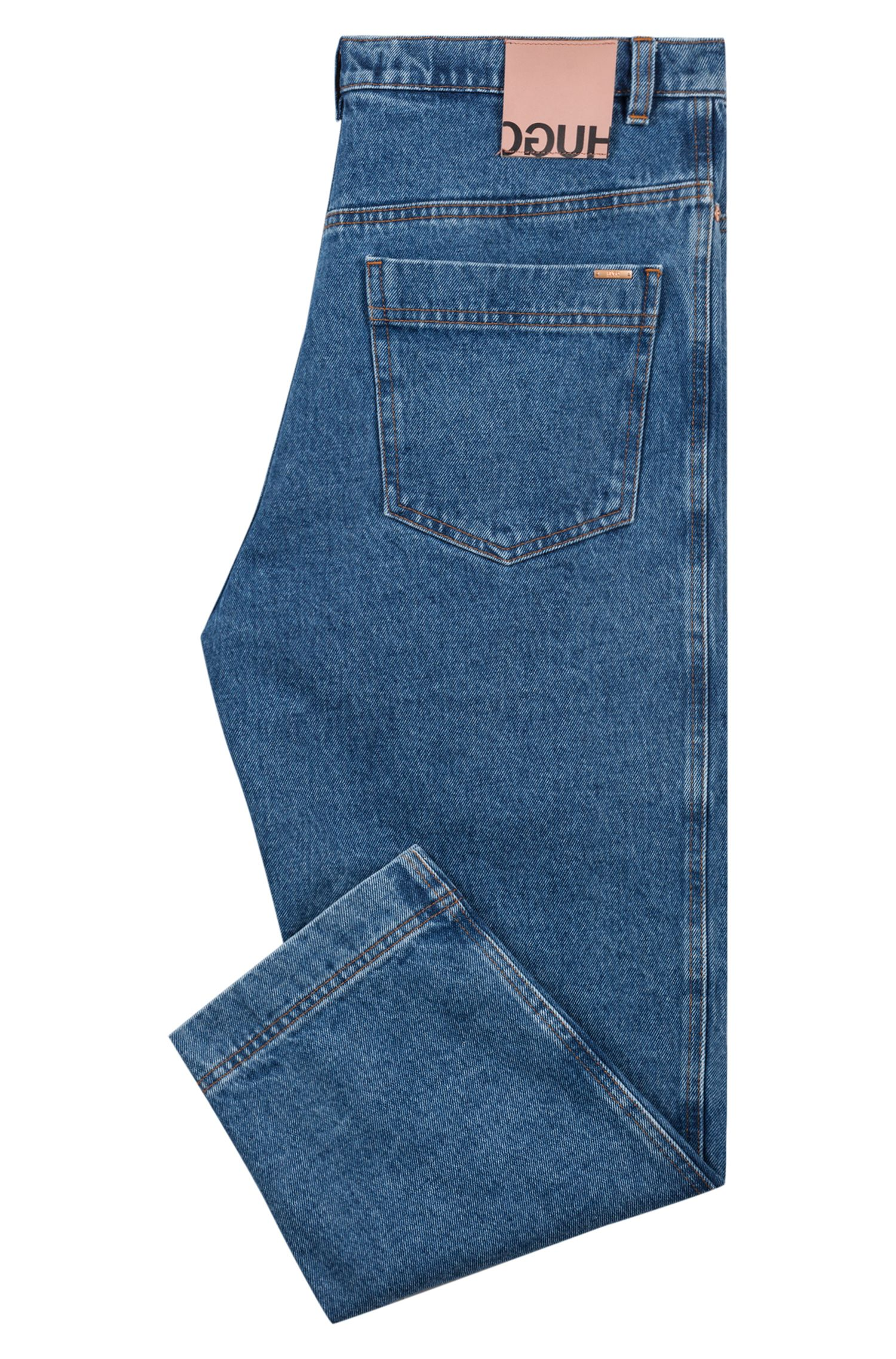 Cropped relaxed-fit jeans with front pleats, Blue