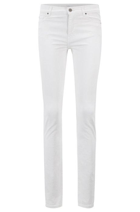 68a40640541 BOSS - Slim-fit jeans in white comfort-stretch denim