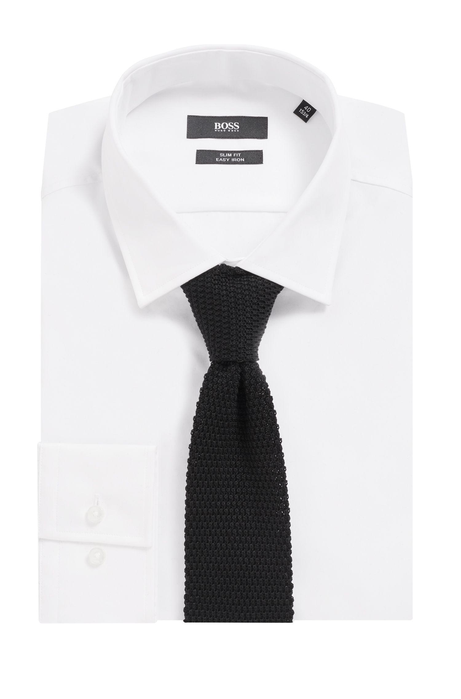 Cravate droite en maille piquée de coton, Noir