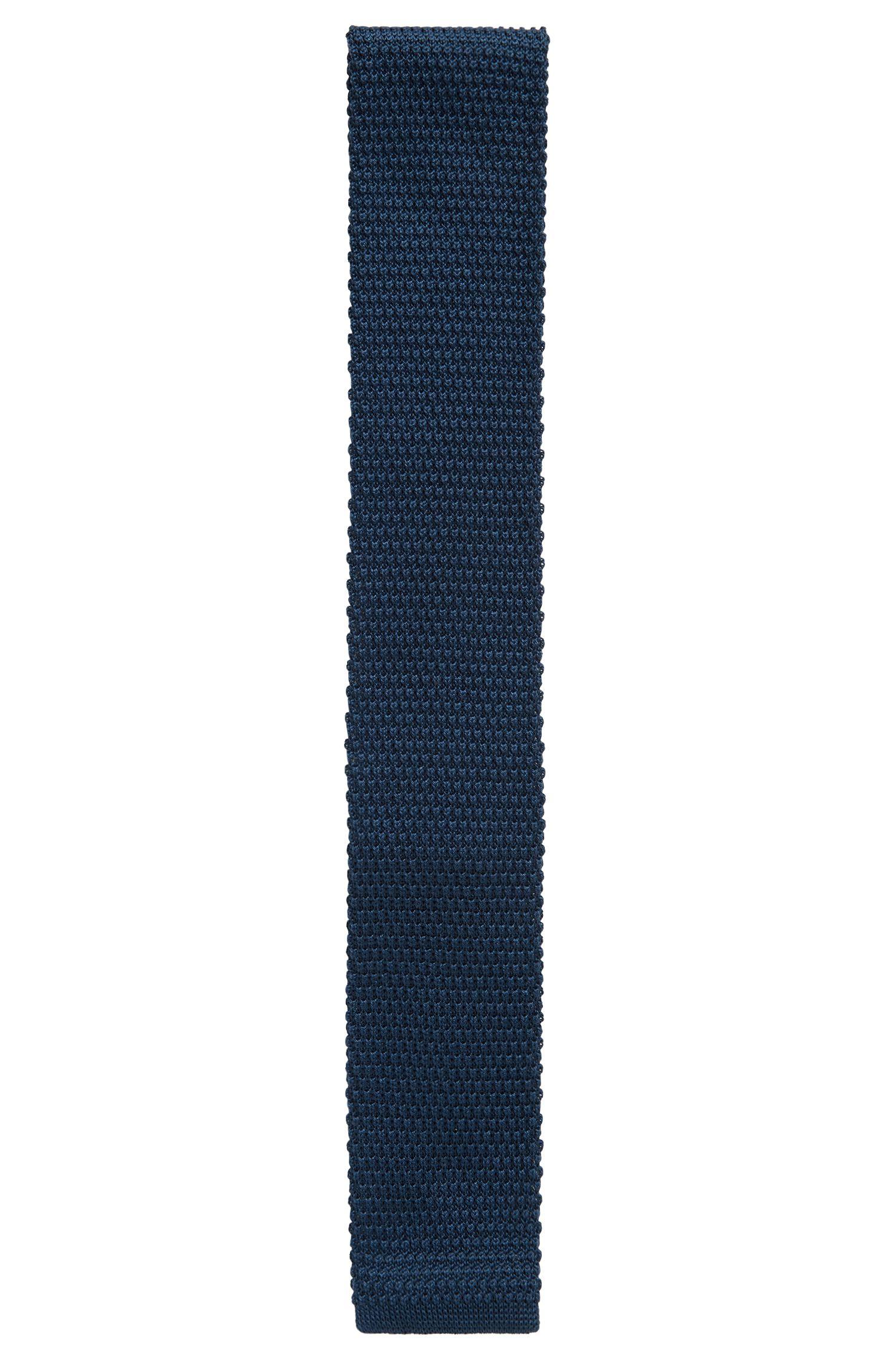 Cravatta diritta in piqué di cotone lavorato, Blu scuro