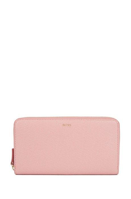 Zip-around wallet in palmellato leather, light pink