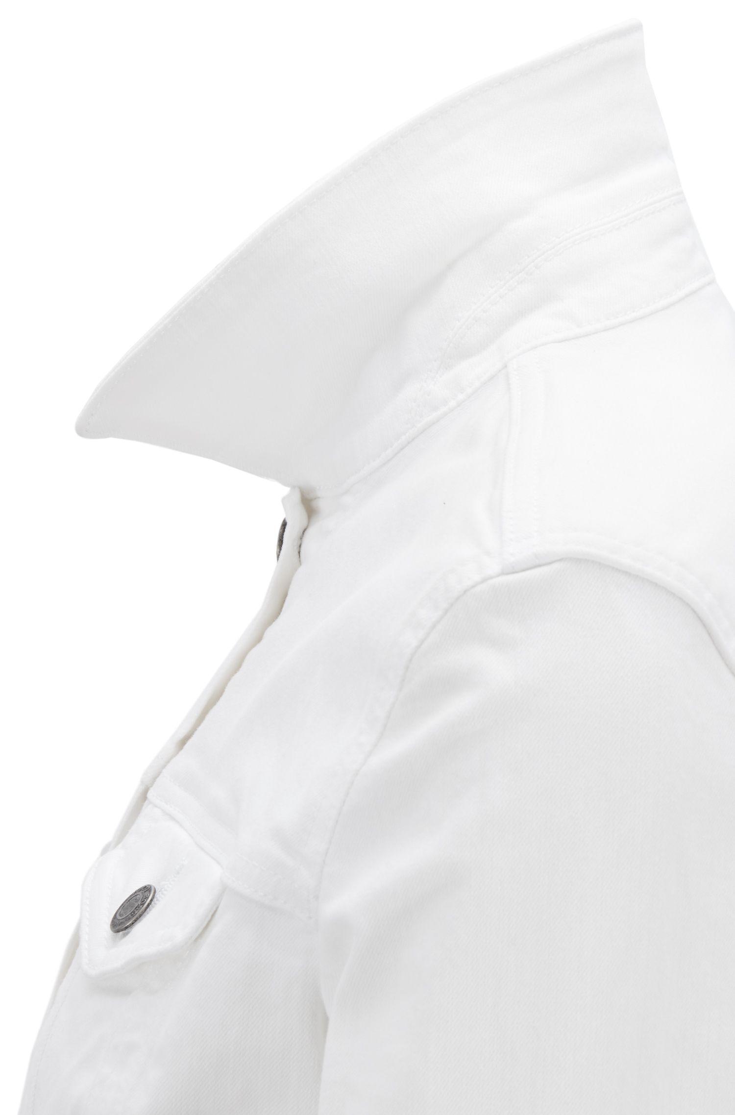 Trucker-style jacket in comfort-stretch denim, White