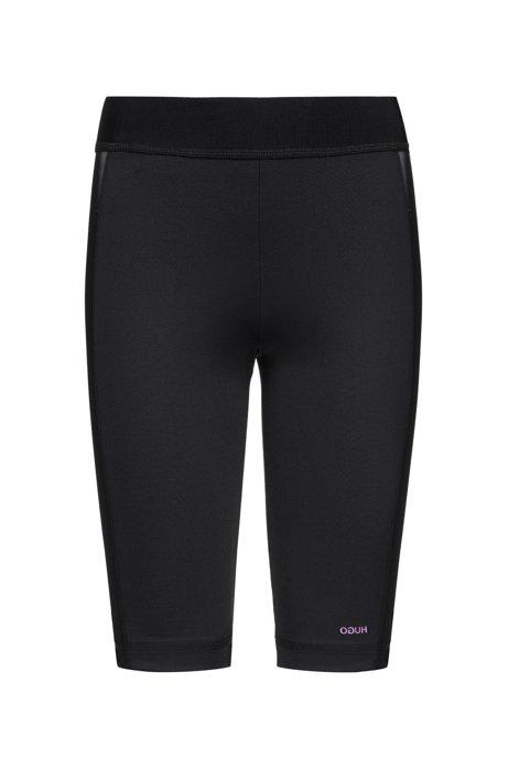 Pantaloncini da ciclista in tessuto tecnico elasticizzato con inserti in rete, Nero