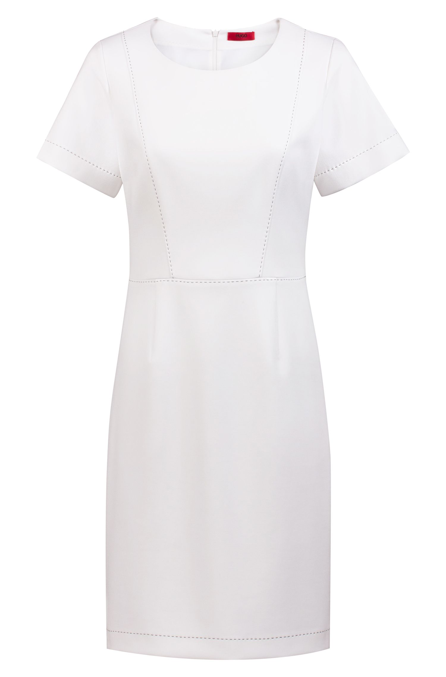 Short-sleeved dress with stitching detail, Natural