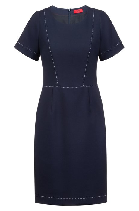 Vestido de manga corta con detalle de costura, Azul oscuro