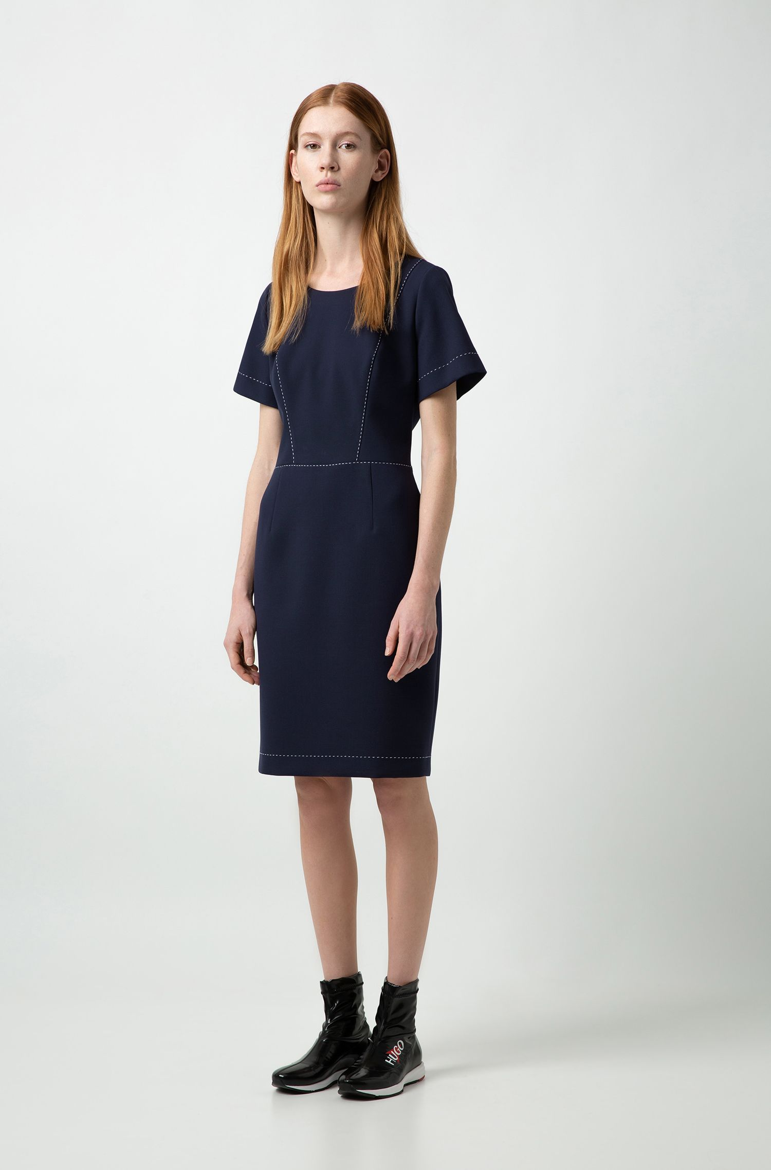 Short-sleeved dress with stitching detail, Dark Blue