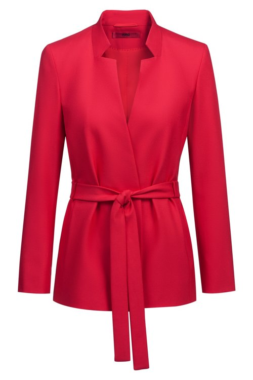 Hugo Boss - Relaxed-fit jacket in stretch crepe with tie waist - 1