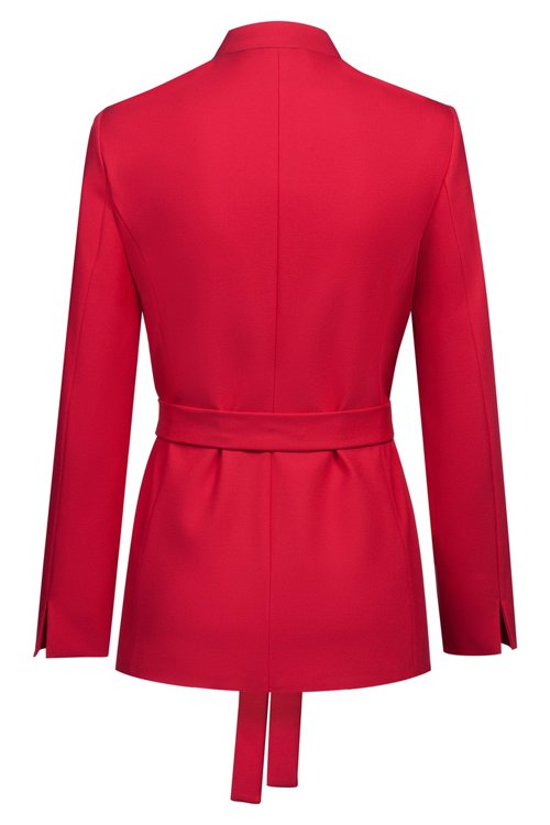 Hugo Boss - Relaxed-fit jacket in stretch crepe with tie waist - 4