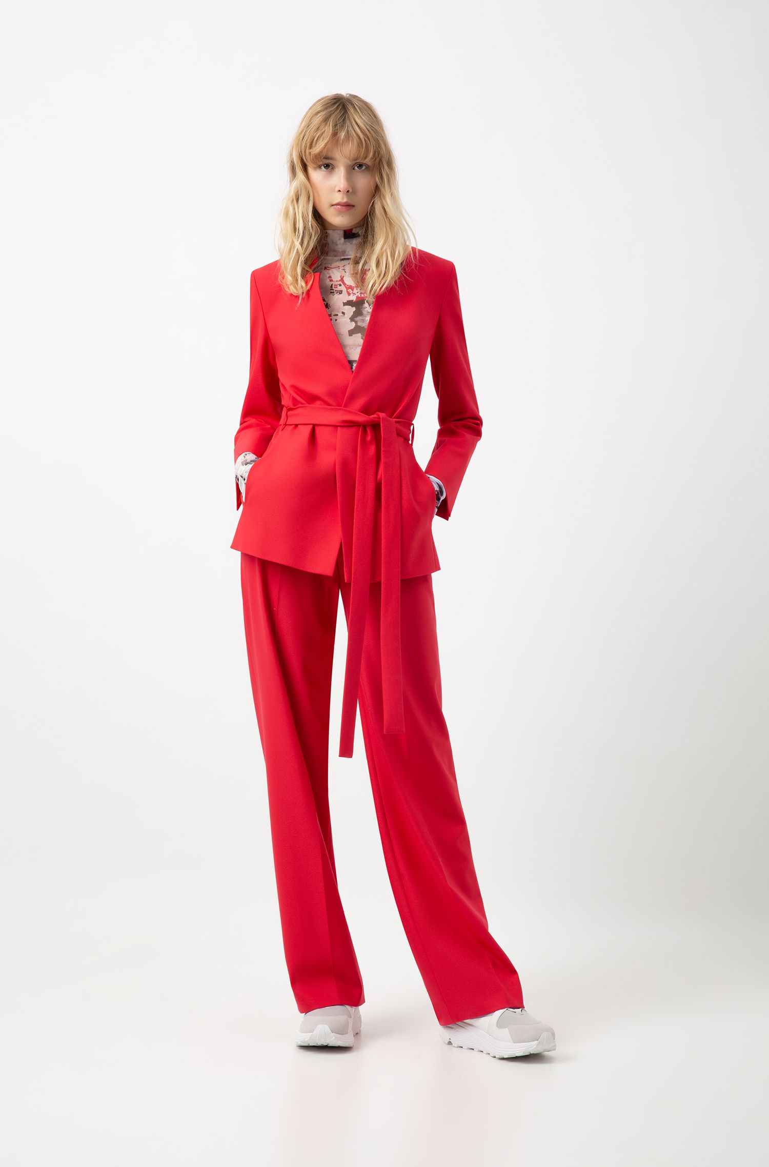 Relaxed-fit jacket in stretch crepe with tie waist, Pink