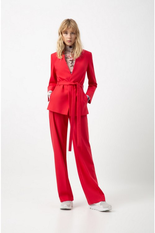 Hugo Boss - Relaxed-fit jacket in stretch crepe with tie waist - 2