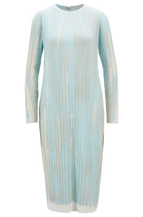 Vestito slim fit in tessuto plissé elasticizzato stampato, A disegni