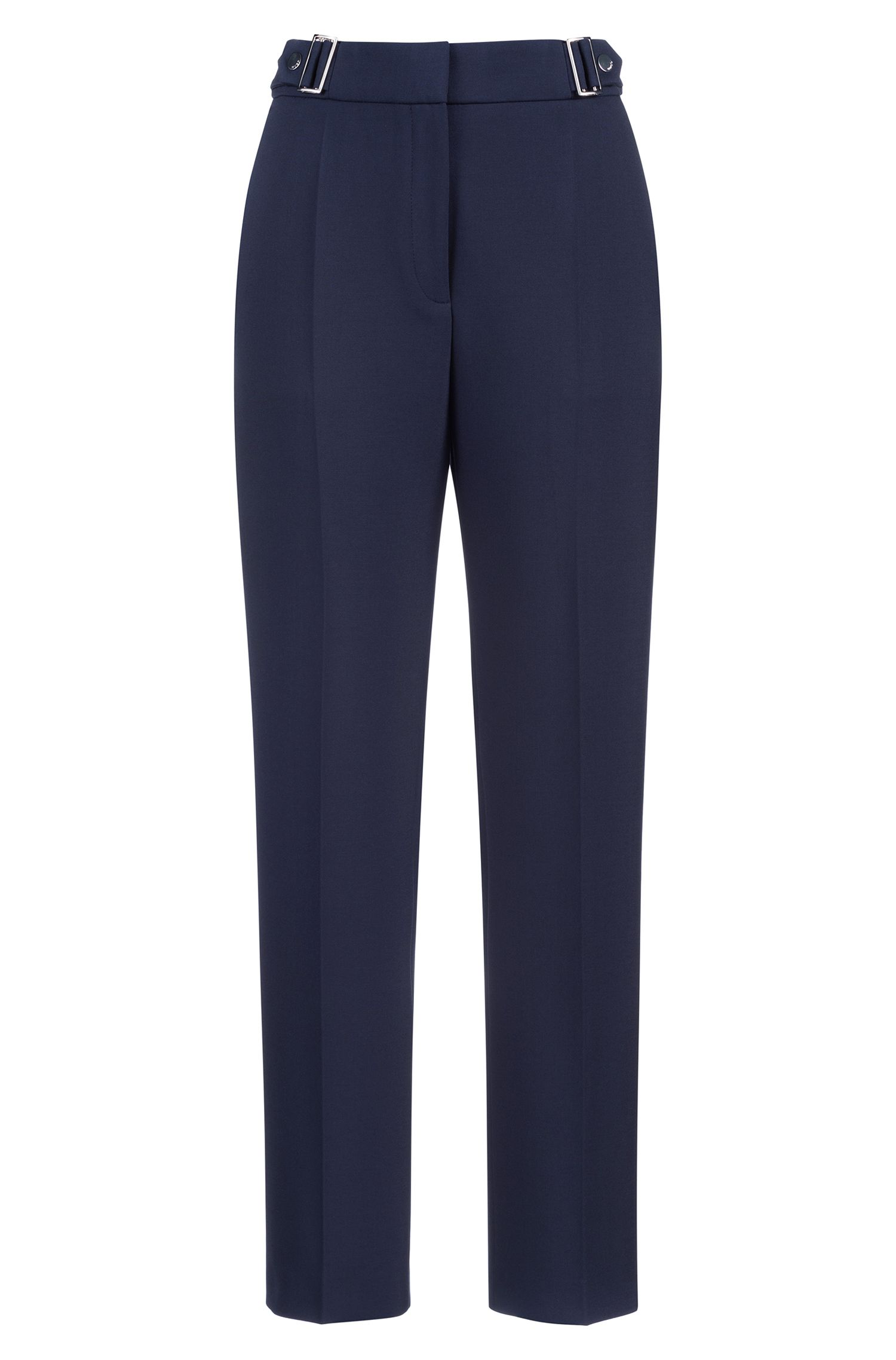 Regular-fit trousers with buckle detail, Blue