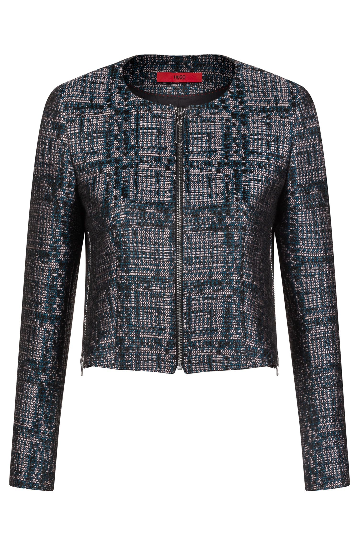 Kragenloser Regular-Fit Blazer aus Tweed , Gemustert