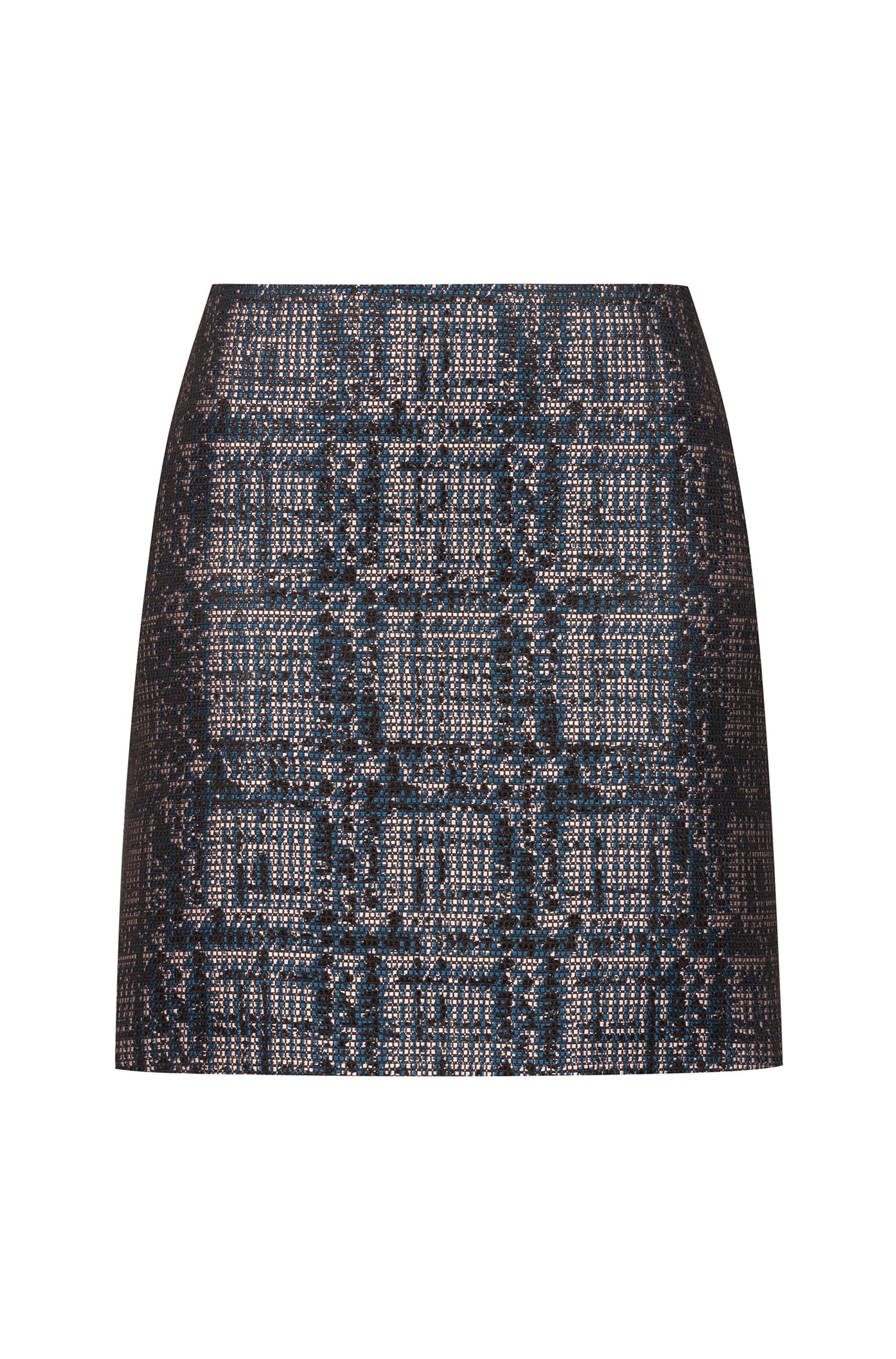 Slim-fit mini skirt in tweed with metallised accents, Patterned