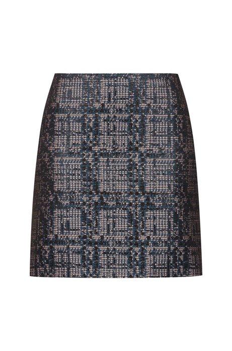 Minigonna slim fit in tweed leggermente metallizzato, A disegni