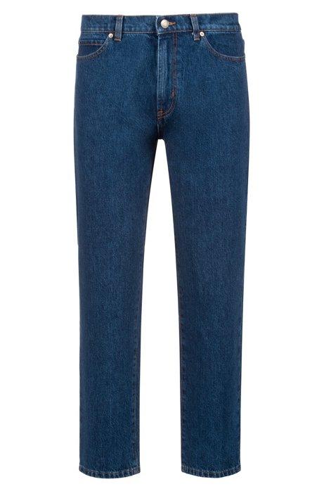 Unisex regular-fit jeans in dark-blue denim, Blue