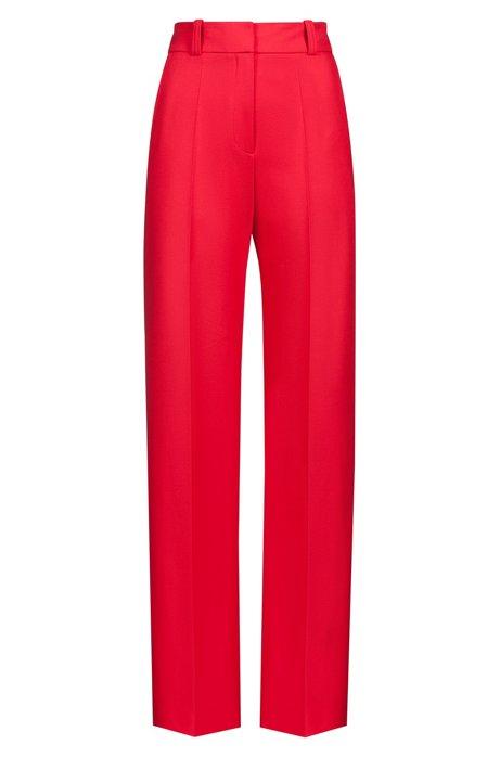 Regular-Fit Hose aus Stretch-Krepp mit hohem Bund und weitem Bein, Pink