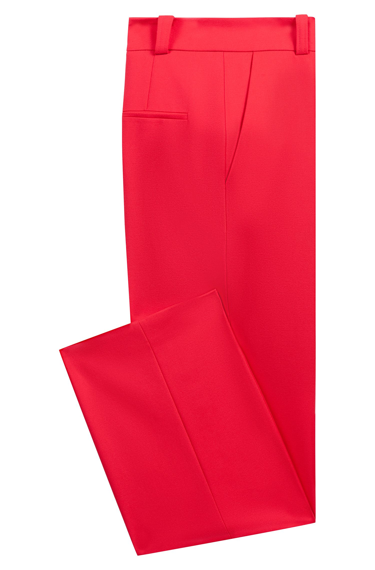High-waisted trousers in stretch crepe with wide leg, Pink