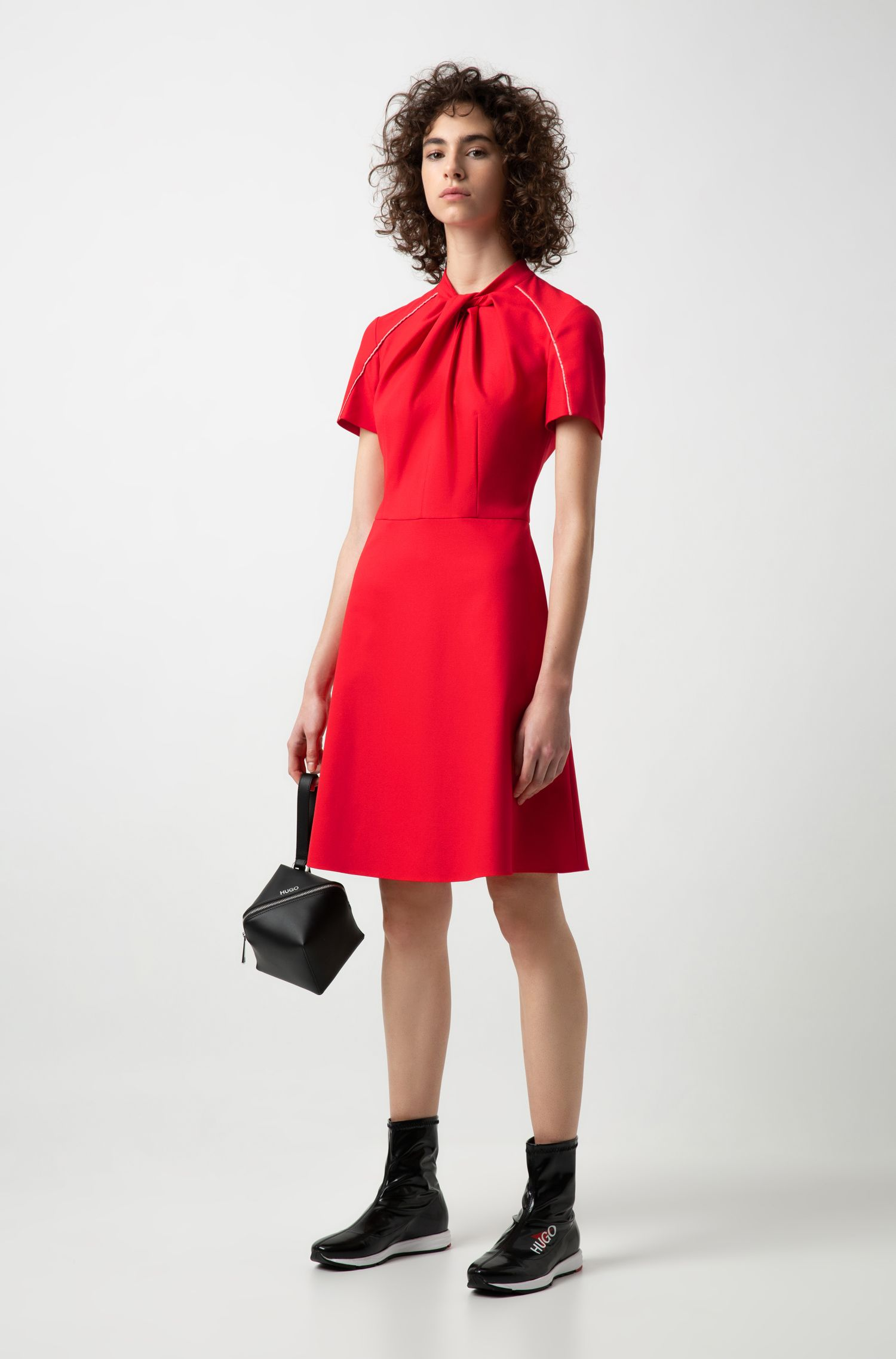 A-line dress in crepe with bow-detail neckline, Red