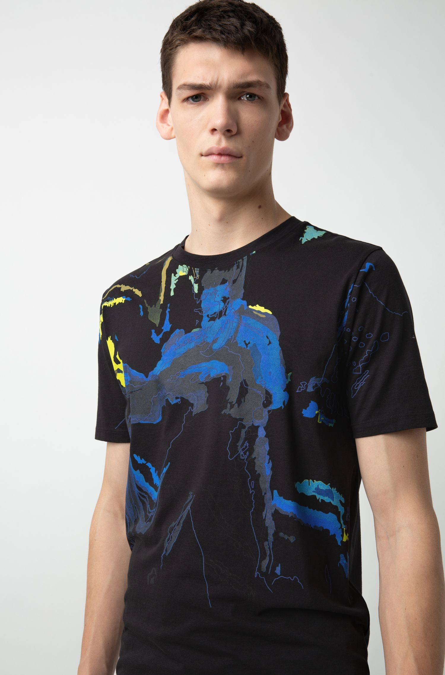 Regular-fit T-shirt in pure cotton with colourful artwork, Patterned