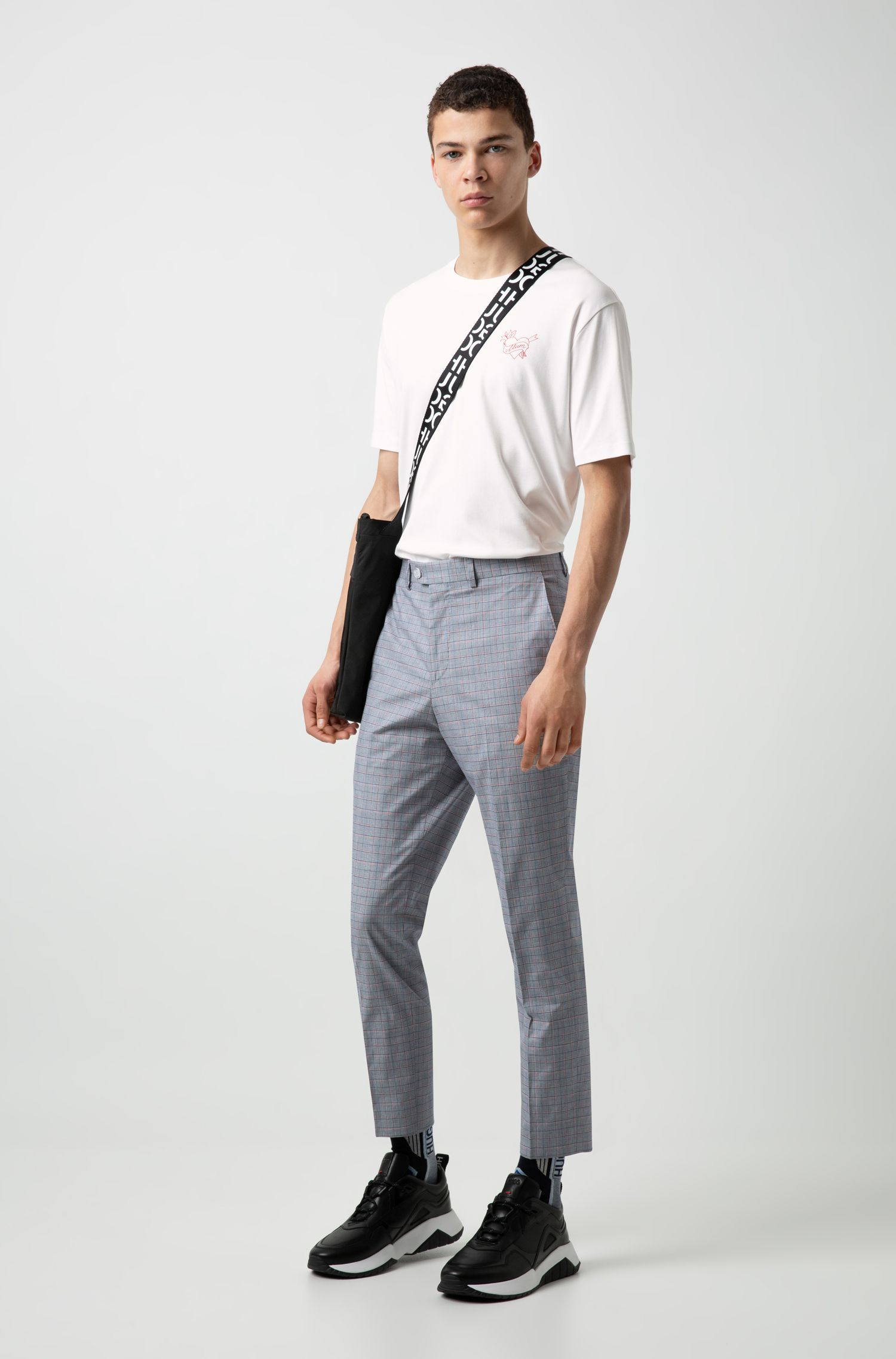Regular-fit T-shirt in Pima cotton with seasonal motif, White