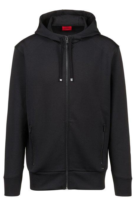Kapuzen-Sweatshirt aus Stretch-Gewebe mit kontrastfarbenen Reißverschlüssen, Schwarz