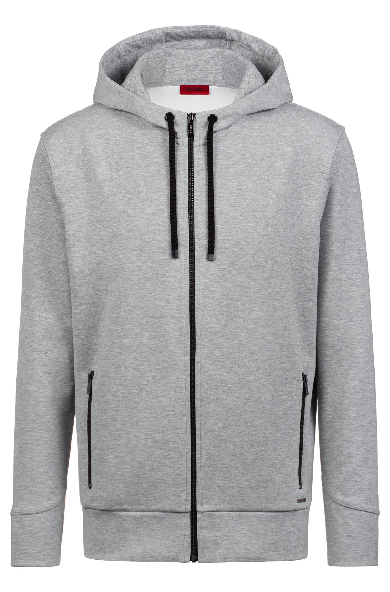 Hooded sweatshirt in stretch fabric with contrast zips, Dark Grey
