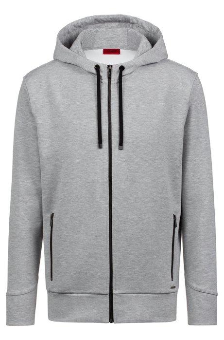 Kapuzen-Sweatshirt aus Stretch-Gewebe mit kontrastfarbenen Reißverschlüssen, Dunkelgrau