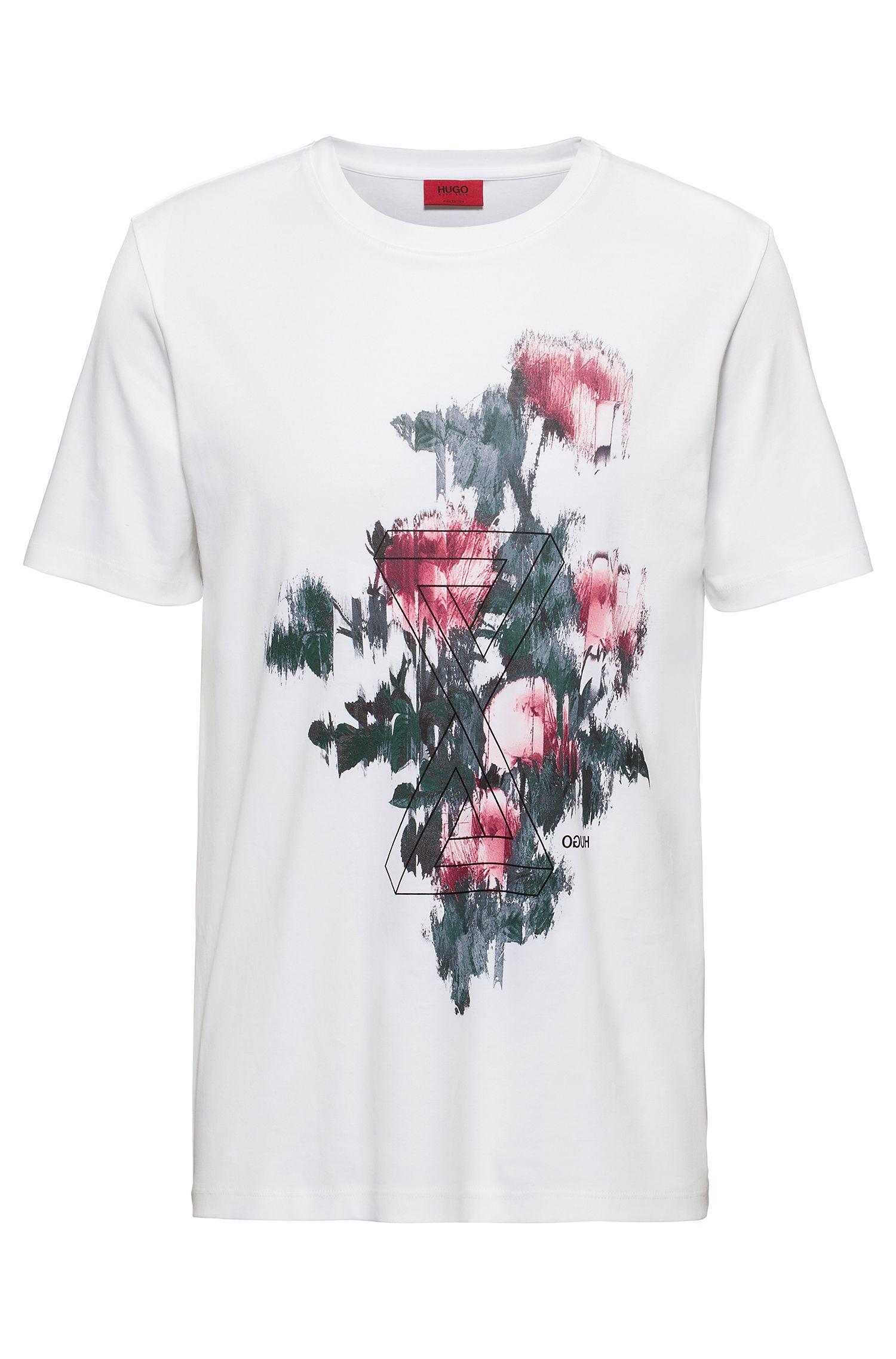 Slim-fit T-shirt van pimakatoen met retro-graphic, Wit