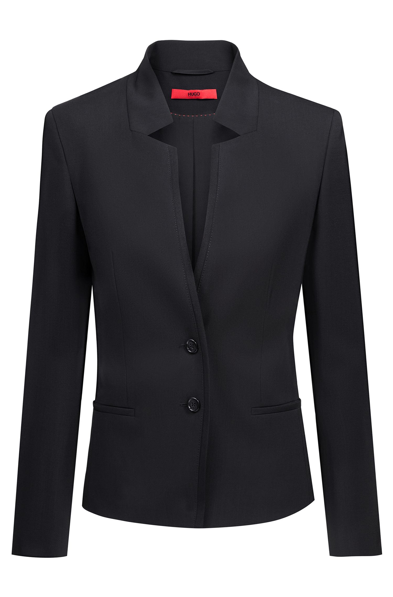 Regular-fit jacket in worsted stretch wool with reverse lapels, Black