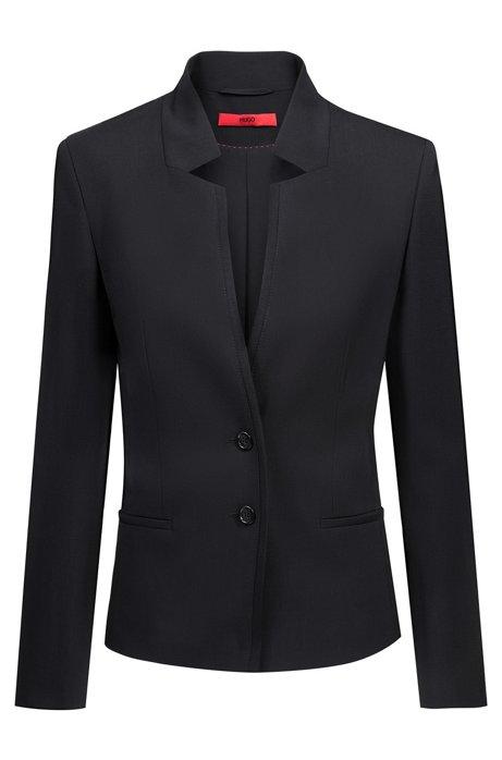 Chaqueta regular fit de lana estameña con solapas de muesca, Negro