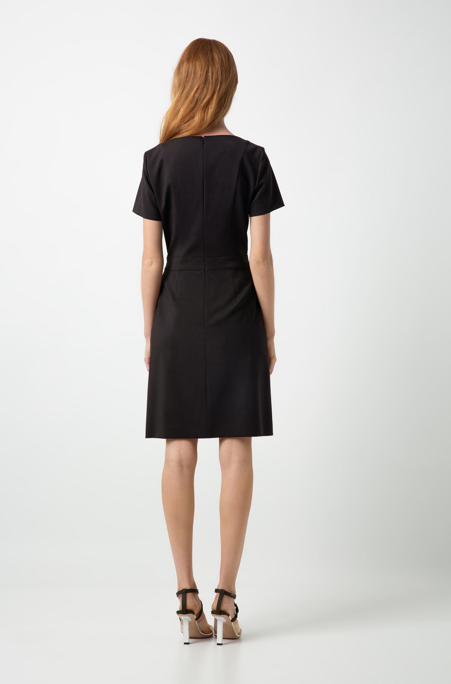 Short-sleeved dress in stretch virgin wool with belt, Black