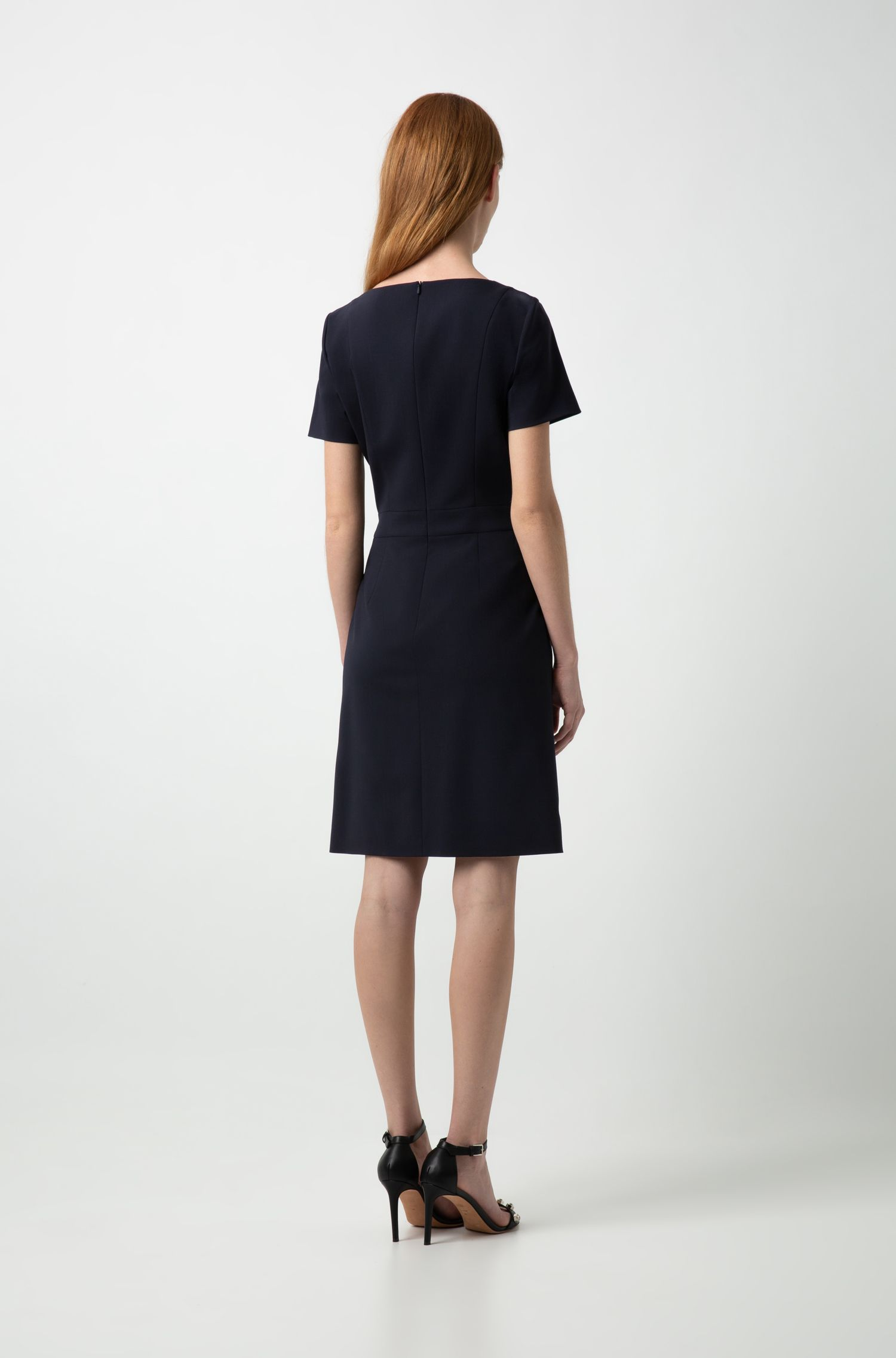 Short-sleeved dress in stretch virgin wool with belt, Dark Blue