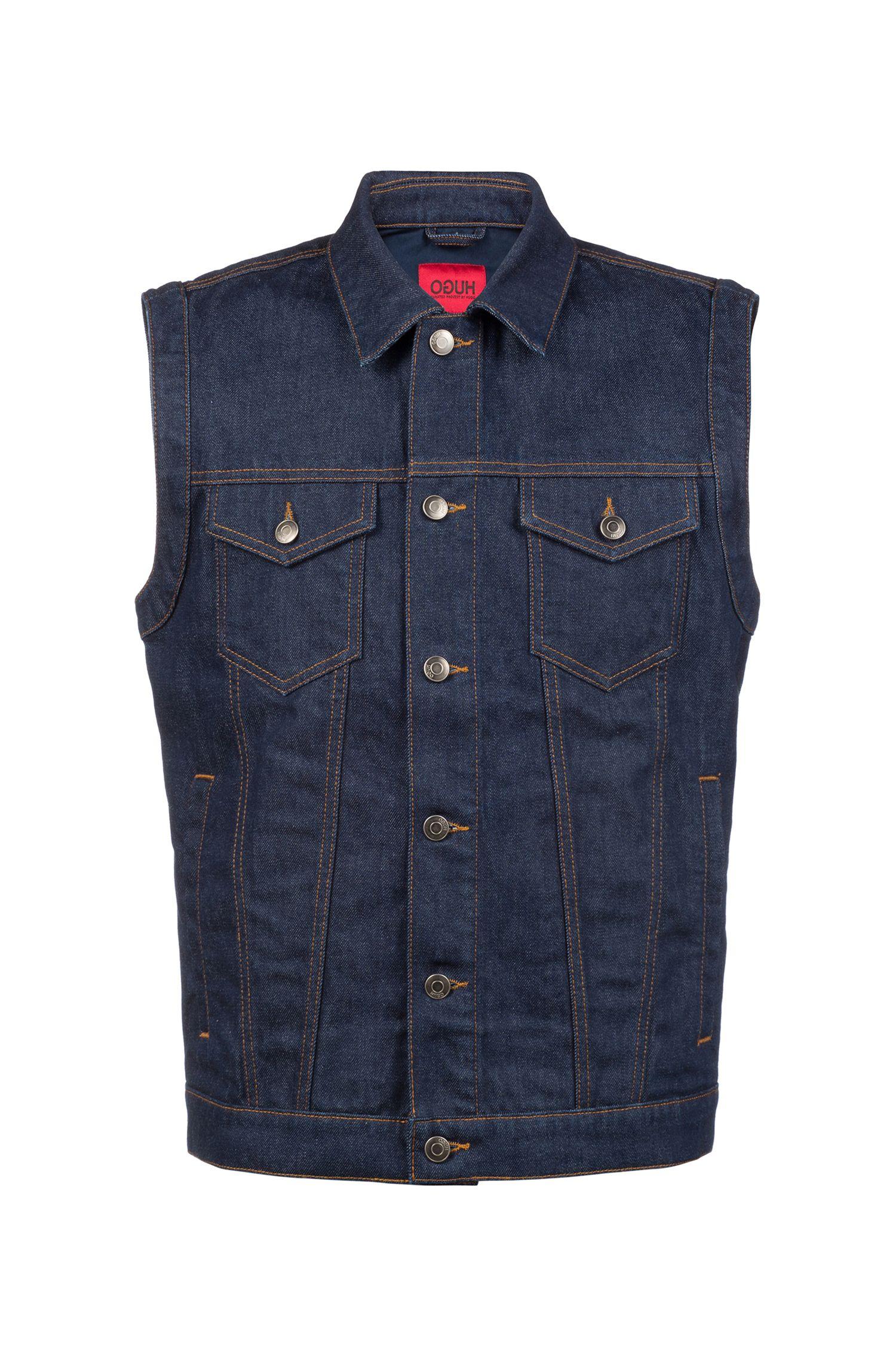 Unisex sleeveless jacket in Italian denim with tobacco stitching, Dark Blue