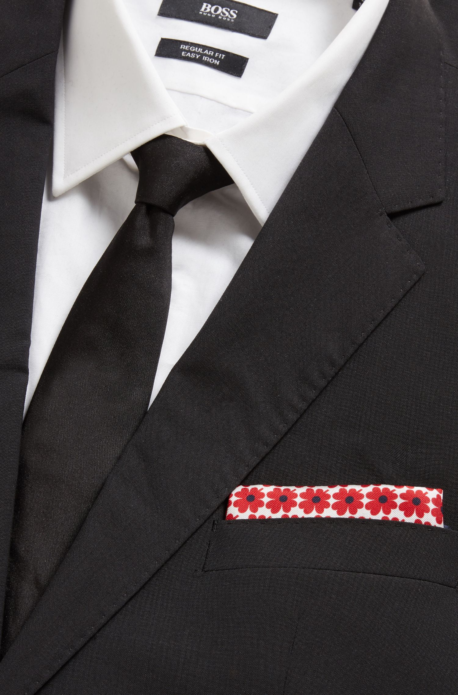 Floral-print pocket square in Italian silk, Red