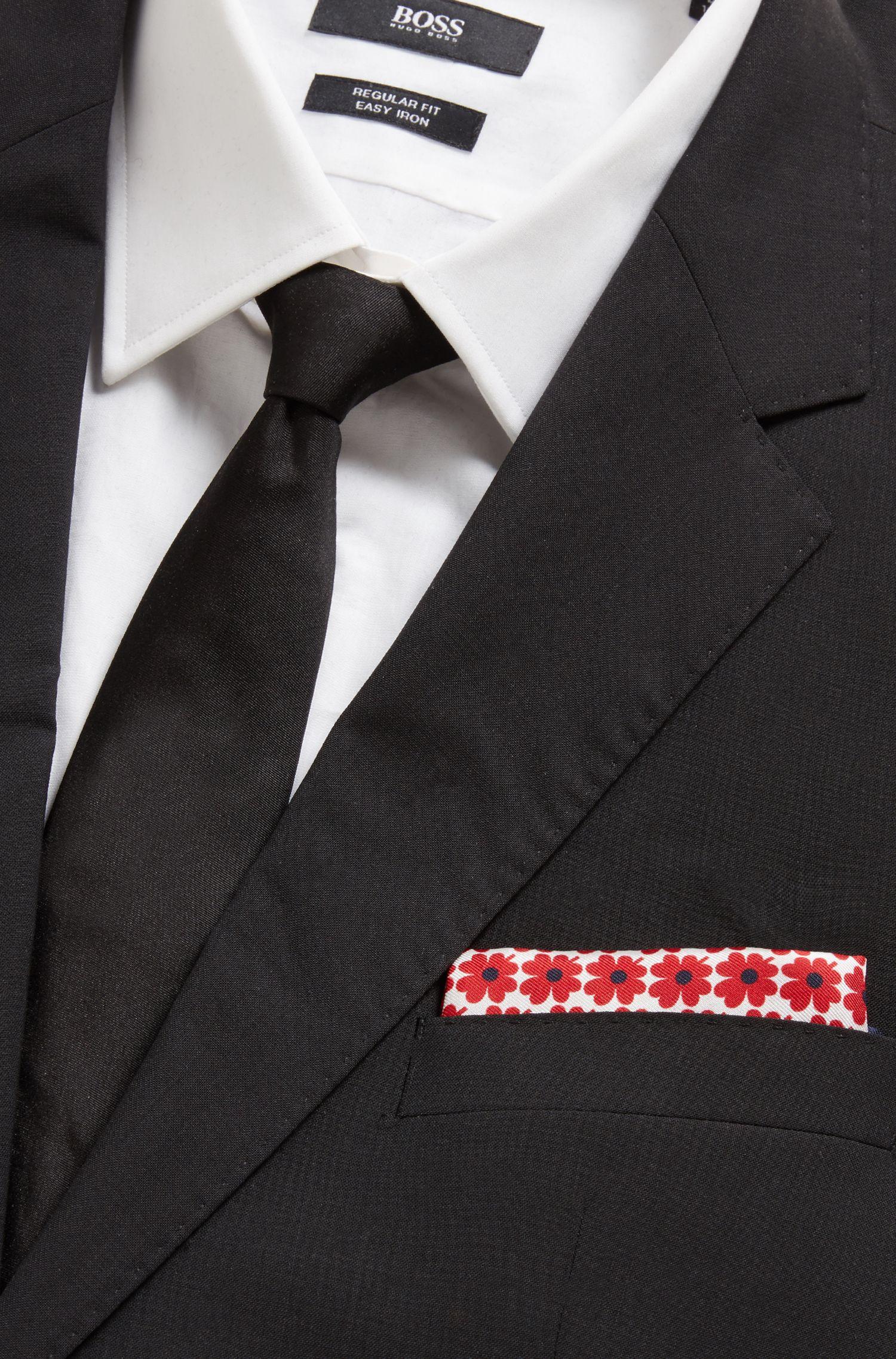 Einstecktuch aus italienischer Seide mit Blumenprint, Rot