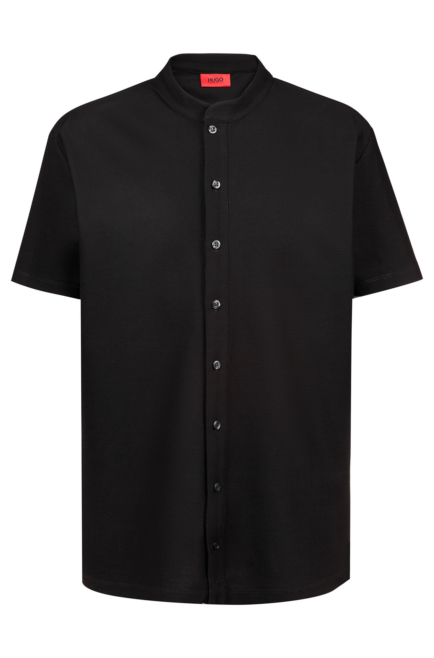 Collarless relaxed-fit polo in honeycomb-structured cotton piqué, Black
