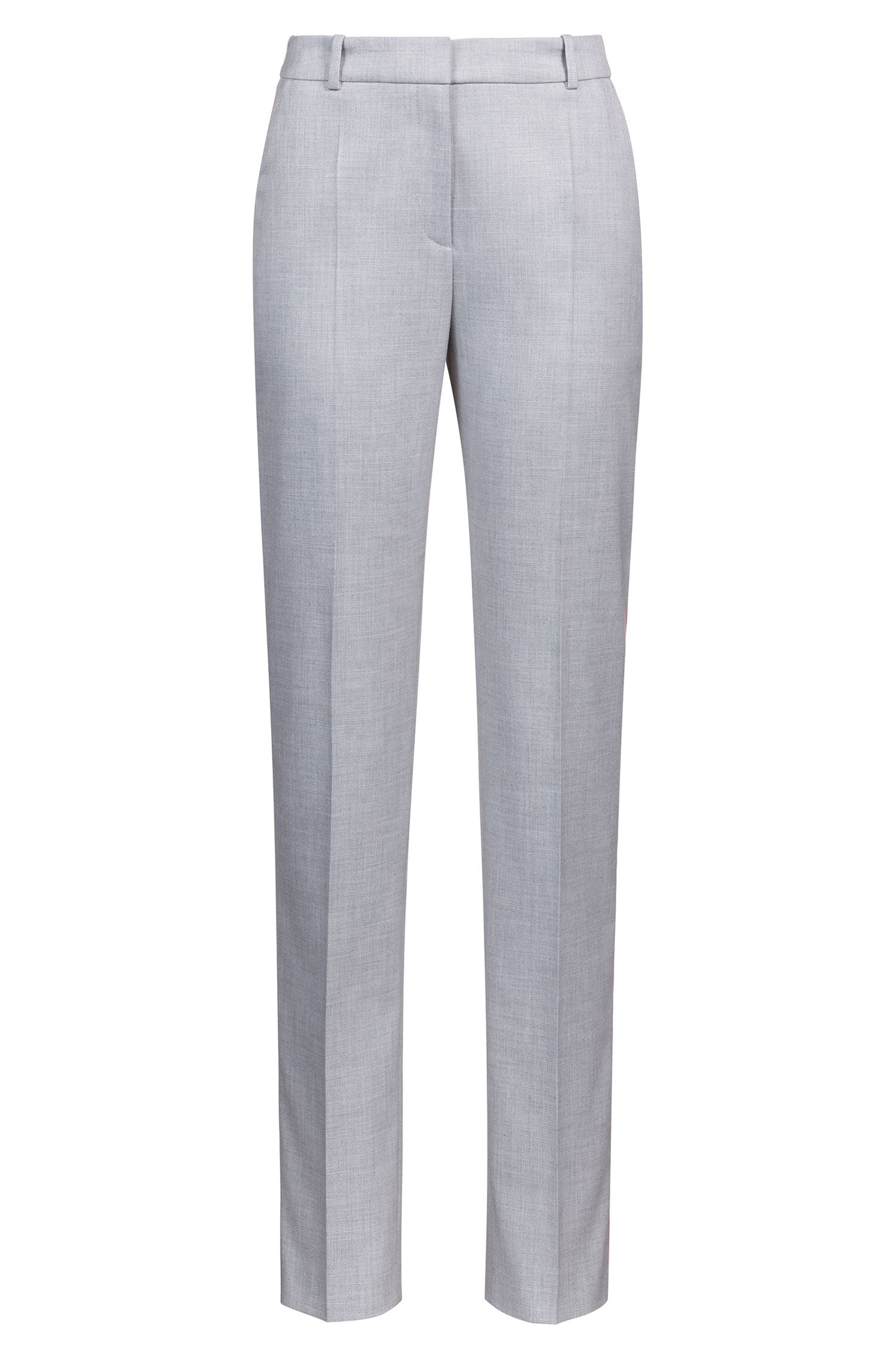 Cropped cigarette trousers with contrast side-seam tape, Patterned