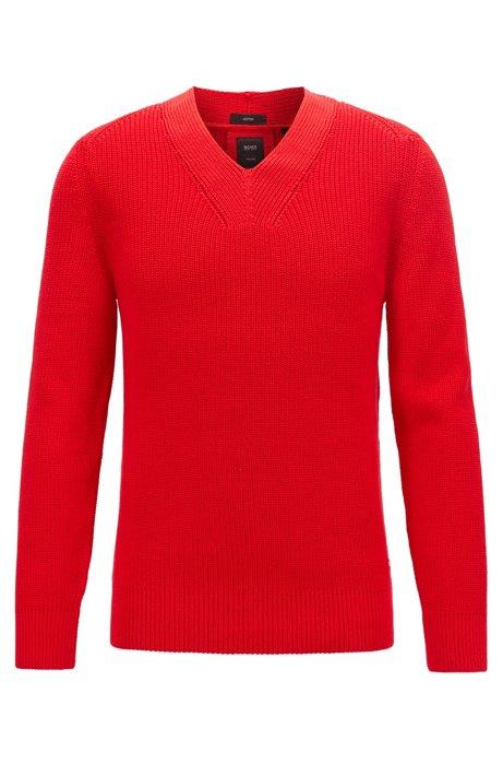 Pullover aus merzerisierter Baumwolle mit V-Ausschnitt, Rot