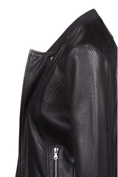 Hugo Boss - Chaquetilla de piel de cordero con detalles calados - 5