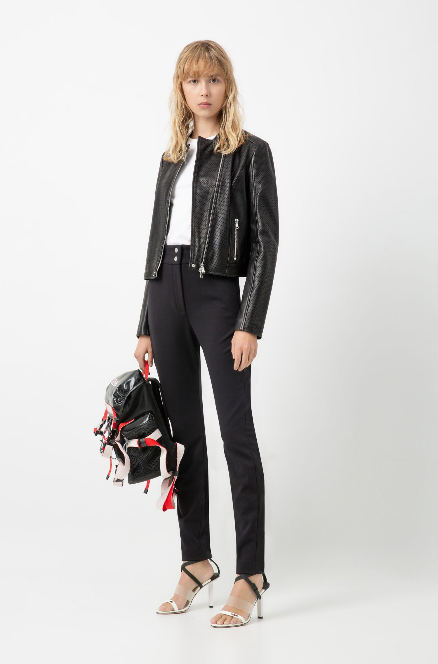 Cropped jacket in lambskin with perforated detailing, Black