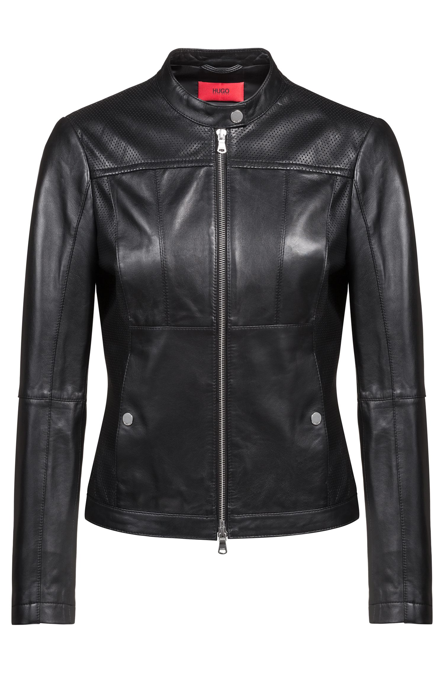 Hugo Boss - Lambskin biker jacket with perforated panels - 1