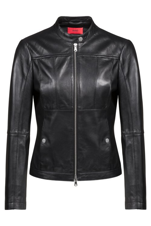 Hugo Boss - Lambskin biker jacket with perforated panels - 1