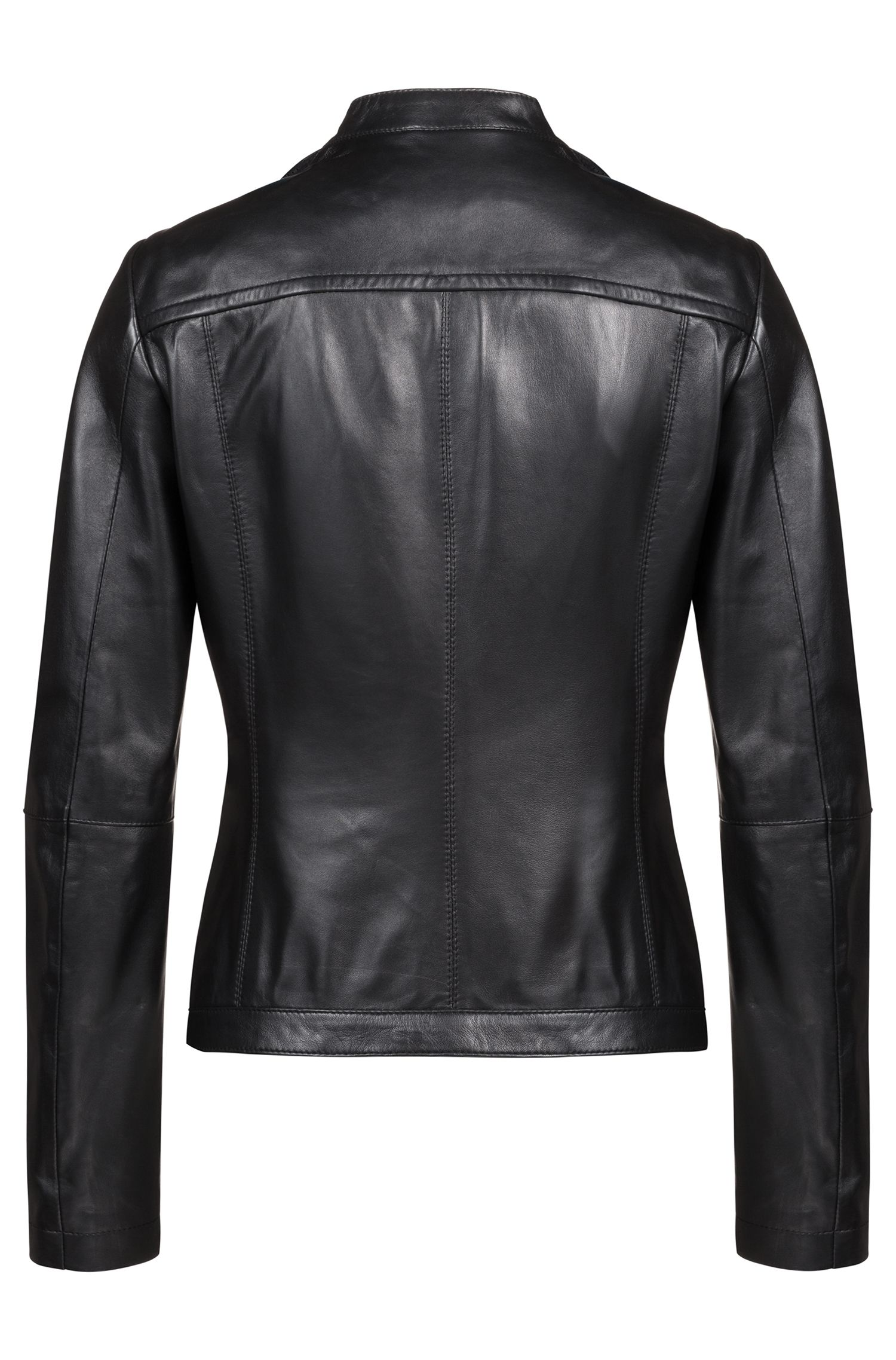 Hugo Boss - Lambskin biker jacket with perforated panels - 4